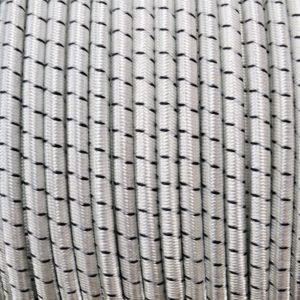 elastiek gevlochten polyester mantel wit met zwarte merkdraad