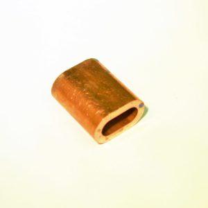 klem van koper om een lus in rvs kabel te klemmen
